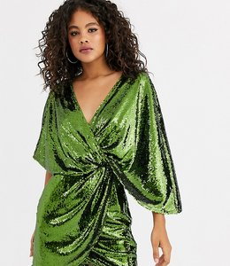 Read more about Asos design tall sheet sequin mini dress with asymmetric kimono sleeve