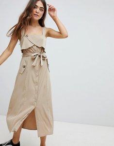 Read more about Bershka utility dress in beige - beige