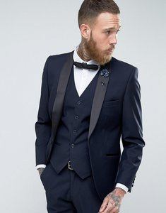 Read more about French connection slim fit navy shawl collar tuxedo jacket - navy