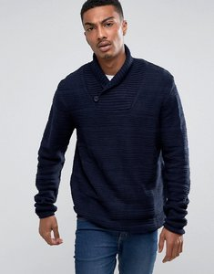 Read more about Bellfield textured shawl collar jumper - navy