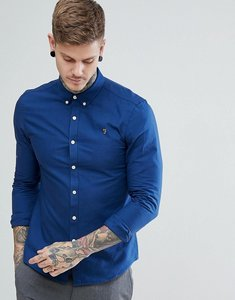 Read more about Farah brewer slim fit oxford shirt in blue - 465 regatta blue