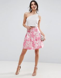 Read more about Asos high waisted mini skirt in pink jacquard - multi