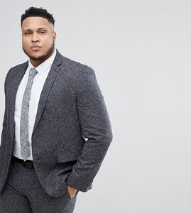 Read more about Farah plus skinny suit jacket in fleck - grey