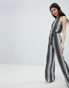 6c78ad198f5 Read more about Oh my love high neck striped jumpsuit with cut out detail -  black