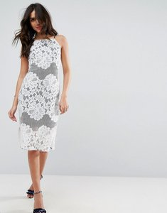 Read more about Asos lace column dress with contrast lining - white