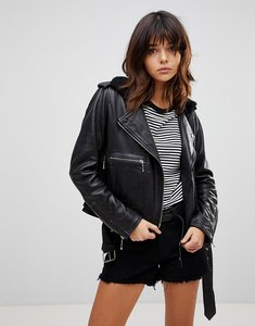 Read more about Muubaa guilia shearling leather biker jacket - black
