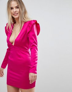 Read more about Glamorous shift dress with plunge front and ruffle trim shoulder - hot pink
