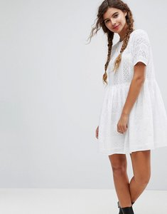 Read more about Asos mini smock dress in broderie - white