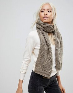 Read more about French connection chunky oatmeal knitted scarf - taupe