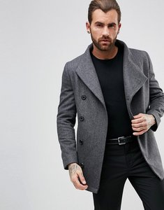 Read more about Religion asymetric button cropped overcoat - charcoal