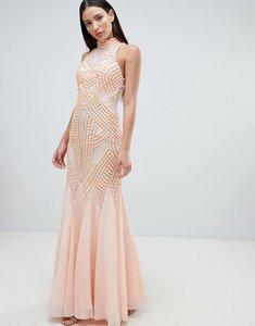 Read more about Forever unique lace detail halter fishtail maxi dress - peach