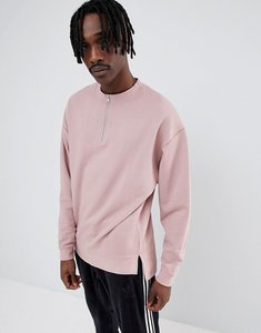 Read more about Asos design oversized sweatshirt with half zip in pink - dream
