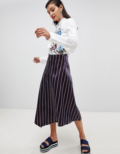 Read more about Sportmax code midi wrap skirt in stripe - 002 blue