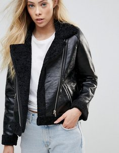 Read more about Goldie rocky faux leather cropped jacket with faux fur lining and metal zippers - black