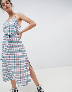 Read more about Glamorous midi cami dress with tie waist and button detail in check - green check