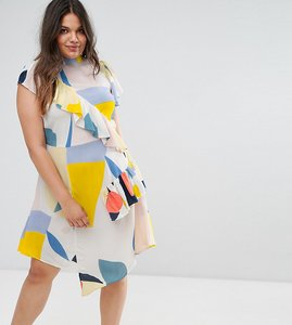 Read more about Asos curve tea dress with frill in contemporary print - multi