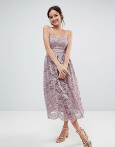 Read more about Asos design bandeau lace midi prom dress - nude