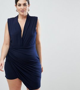 Read more about John zack plus sleeveless wrap front mini dress - navy