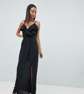 Read more about Missguided tall polka dot maxi dress - black