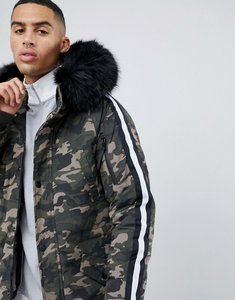Read more about Sixth june parka coat in camo with black faux fur hood - green