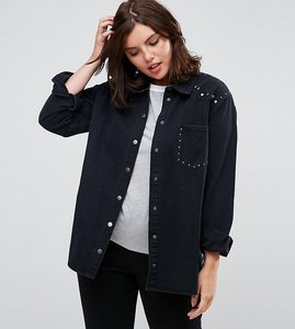 Read more about Alice you denim jacket with stud seam and pocket - black