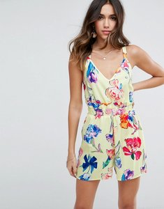 Read more about Asos playsuit with frill in floral print - yellow floral