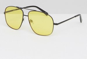 Read more about Asos metal square aviator sunglasses in black with yellow coloured lens - black