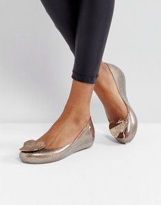Read more about Vivienne westwood for melissa ultragirl love gold glitter flat shoes - sunkiss love