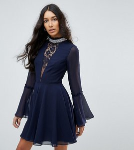 Read more about Asos tall embellished frill neck fluted sleeve mini dress - navy
