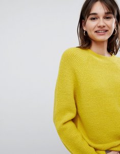Read more about Asos design fluffy jumper in rib - piccalili yellow