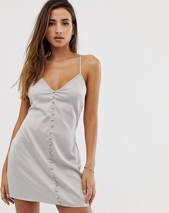 Read more about Missguided button through mini dress in silver satin
