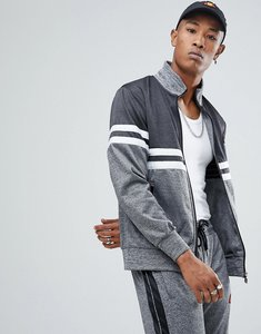 Read more about Ellesse poly tricot track jacket with contrast panel in grey - grey