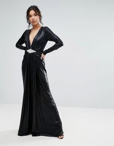 Read more about Forever unique plunge maxi dress with waisted detail - black