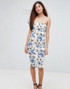 Read more about Ax paris floral bandeau midi dress - cream