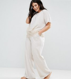Read more about New look curve eyelash lace pyjama jogger - oatmeal