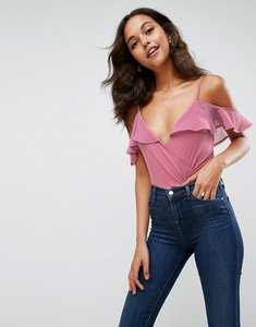 Read more about Asos cami body with contrast woven ruffle cold shoulder - dusky pink