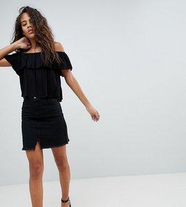 Read more about Missguided tall raw hem mini skirt - black