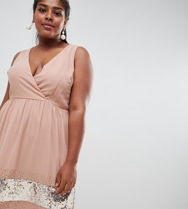 Read more about Lovedrobe lux wrap skater dress with embellished hem - pale mauve