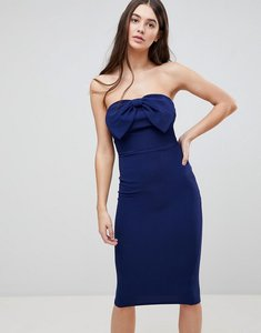 Read more about Ax paris bow front midi bow bodycon dress - navy