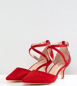 Read more about Raid wide fit lyla kitten heel court shoe - red micro