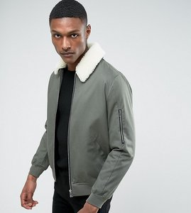 Read more about Asos tall cotton bomber jacket with borg collar in khaki - khaki