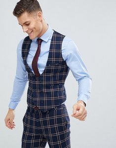 Read more about Asos design wedding super skinny suit waistcoat in navy waffle check - navy