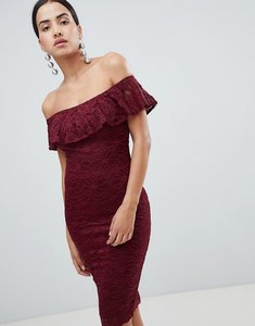 Read more about Ax paris bardot frill overlay lace midi dress - wine