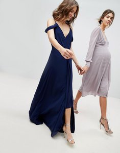 Read more about Tfnc cold shoulder wrap maxi bridesmaid dress with fishtail - navy