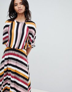Read more about Y a s stripe midaxi dress with asymetric hem - multi
