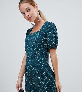 Read more about Fashion union petite square neck mini dress in spot print - green spot
