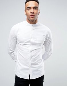 Read more about Asos super skinny casual oxford shirt with grandad collar in white - white