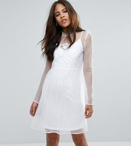 Read more about Asos tall dobby mesh embroidered smock dress - white