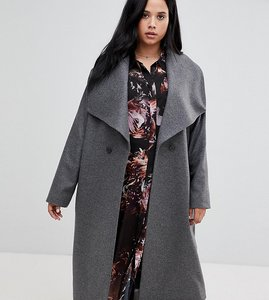 Read more about Religion plus double breasted coat with drapey collar detail - grey