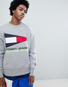 Read more about Tommy jeans 90s sailing capsule flag logo crew neck sweatshirt in grey marl - light grey htr